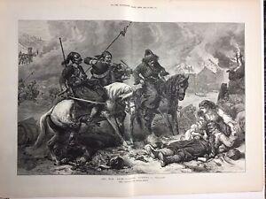 BASHI-BAZOUKS-Burning-A-Village-WILLIAM-SIMPSON-1876-Original-Antique-Print