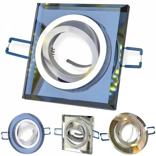 10x Einbaurahmen Set GU10 Glas schwenkbar rund eckig Rahmen Einbauleuchte