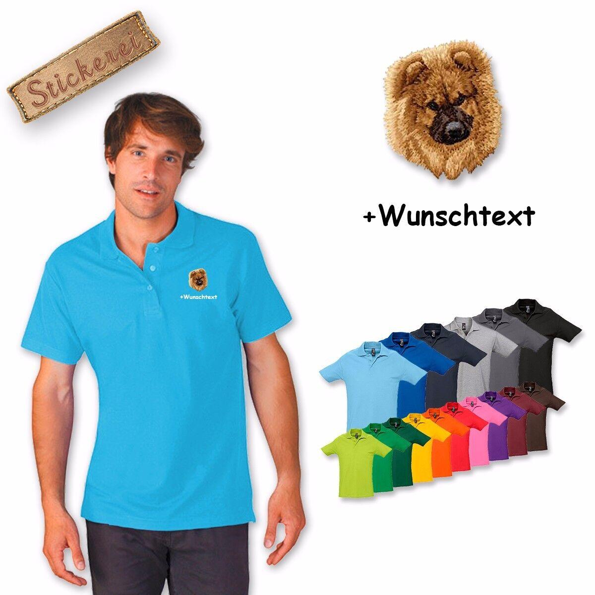 Camiseta De Algodón Polo Bordado Perro Chow Chow + Texto personalizado