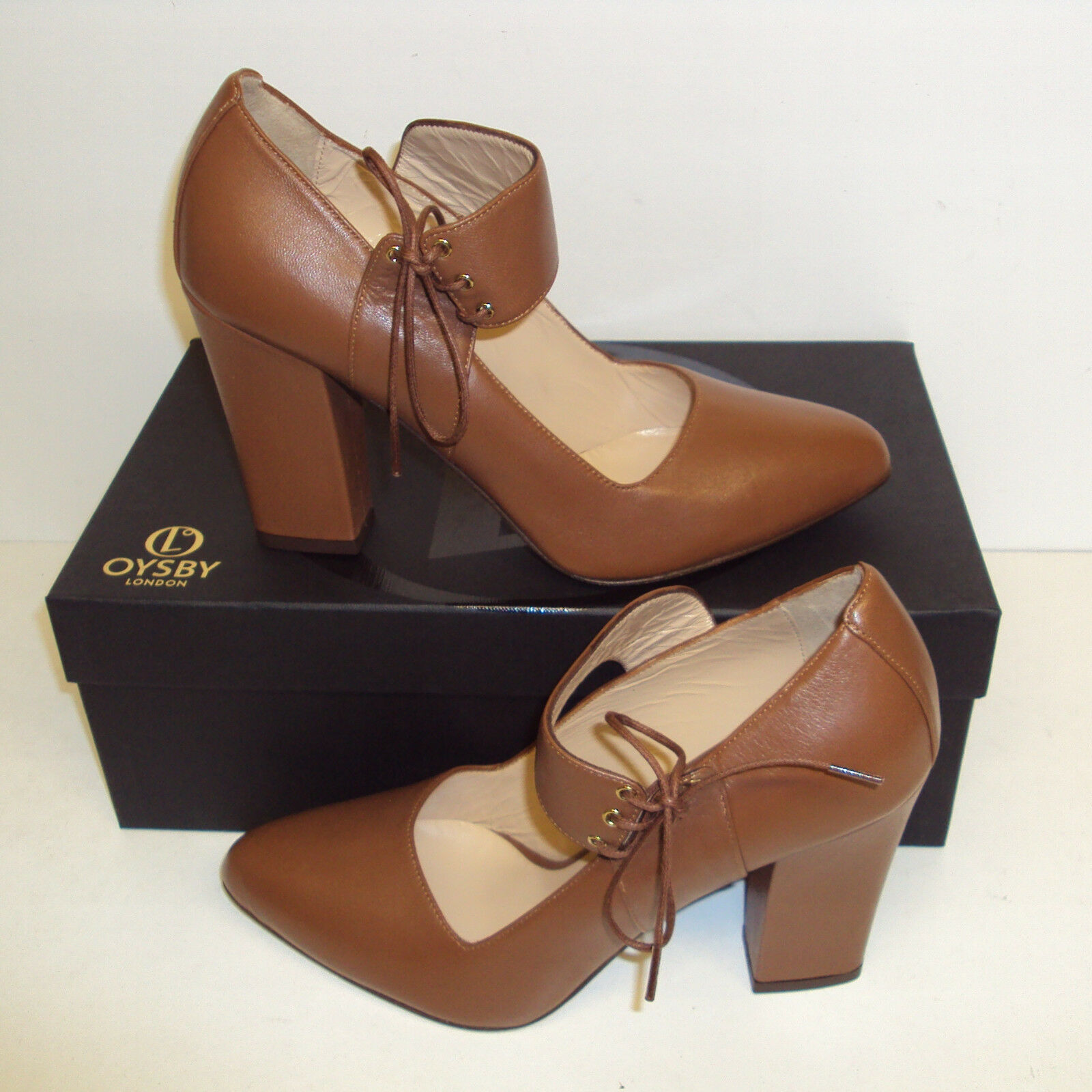 Oysby London Ladies 100% Leather MADE IN ITALY Tan Boots Heels   Size 3-8