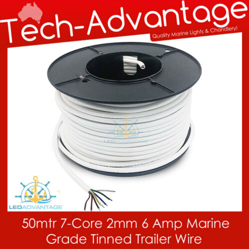 50M X MARINE TINNED 7-CORE WIRE WHITE SHEATHED ELECTRICAL TRAILER WIRING CABLE