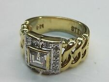 Men`s F.M. Sterling Silver/Gold CZ  Ring  Sz: 9