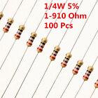 100Pcs 1/4W 0.25W Carbon Film Resistor ±5%  1 - 910 Ω Ohm 1R - 910R