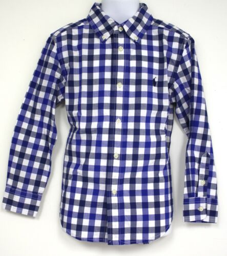 Ralph Lauren Boy Long Sleeve Button Down Shirt Blue White Check Pony Logo Plaid