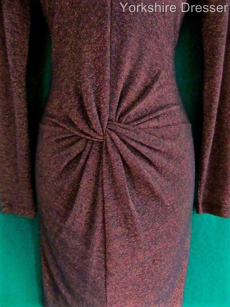 New TED BAKER Copper Sparkly LIZZEY Twist Stretch Party Kleid - Uk 8 10 12 14 16