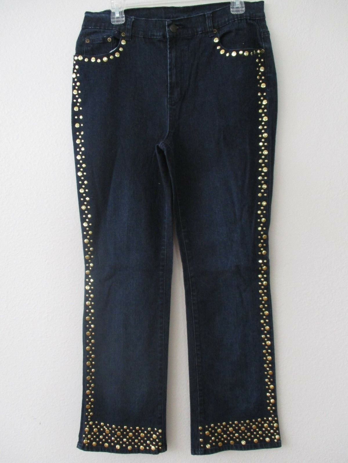 DIANE GILMAN DENIM DARK blueE & gold EMBELLISHED JEANS SIZE 10 - NWT