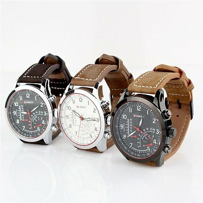 CURREN Men's Stainless Steel Case Faux Leather Strap Quartz Analog Wrist Watch