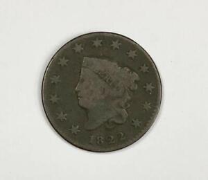 1822 Coronet Head Large Cent 1¢ Very Good