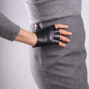 Real-Leather-Fingerless-Short-Gloves-Black-Genuine-Sheepskin-Sports-Half-Finger