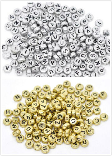 Free Ship 1000Pcs Mixed Alphabet Letter Acrylic Flat Round Spacer Beads 7mm