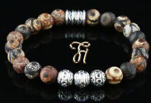 Tibet-Achat-Armband-Bracelet-Perlenarmband-Silber-Beads-Buddha-braun-matt-8mm