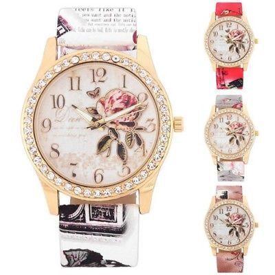 mode femmes Strass montre bracelet décontracté quartz rose montre-bracelet LOT