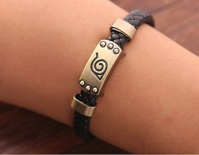 Naruto Leaf Mark Brown Knit Vintage Magnetic Wristband Bracelet Anime Cosplay