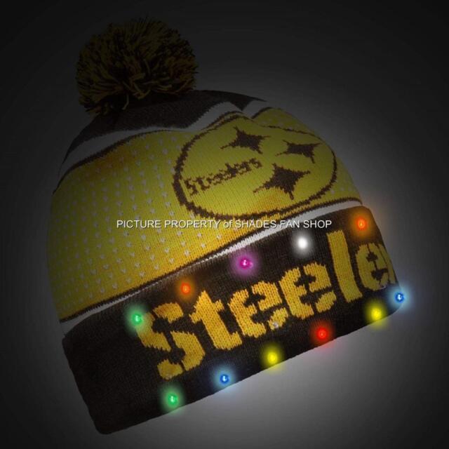ebe9b55fb42 Pittsburgh Steelers NFL Knit LED Light up Hat Winter Pom Beanie Cap 2018  Black