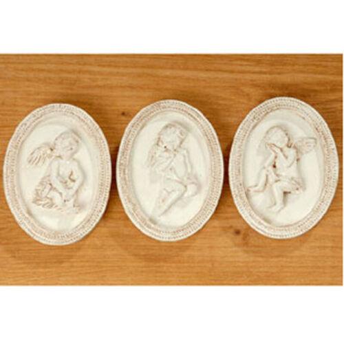 Engelbild 3er Set Engel Weihnachten Taufgeschenk Schutzengel Taufe antik weiss