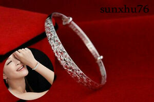 Women-925-Silver-Crystal-Chain-Bangle-Cuff-Charm-Bracelet-Jewelry