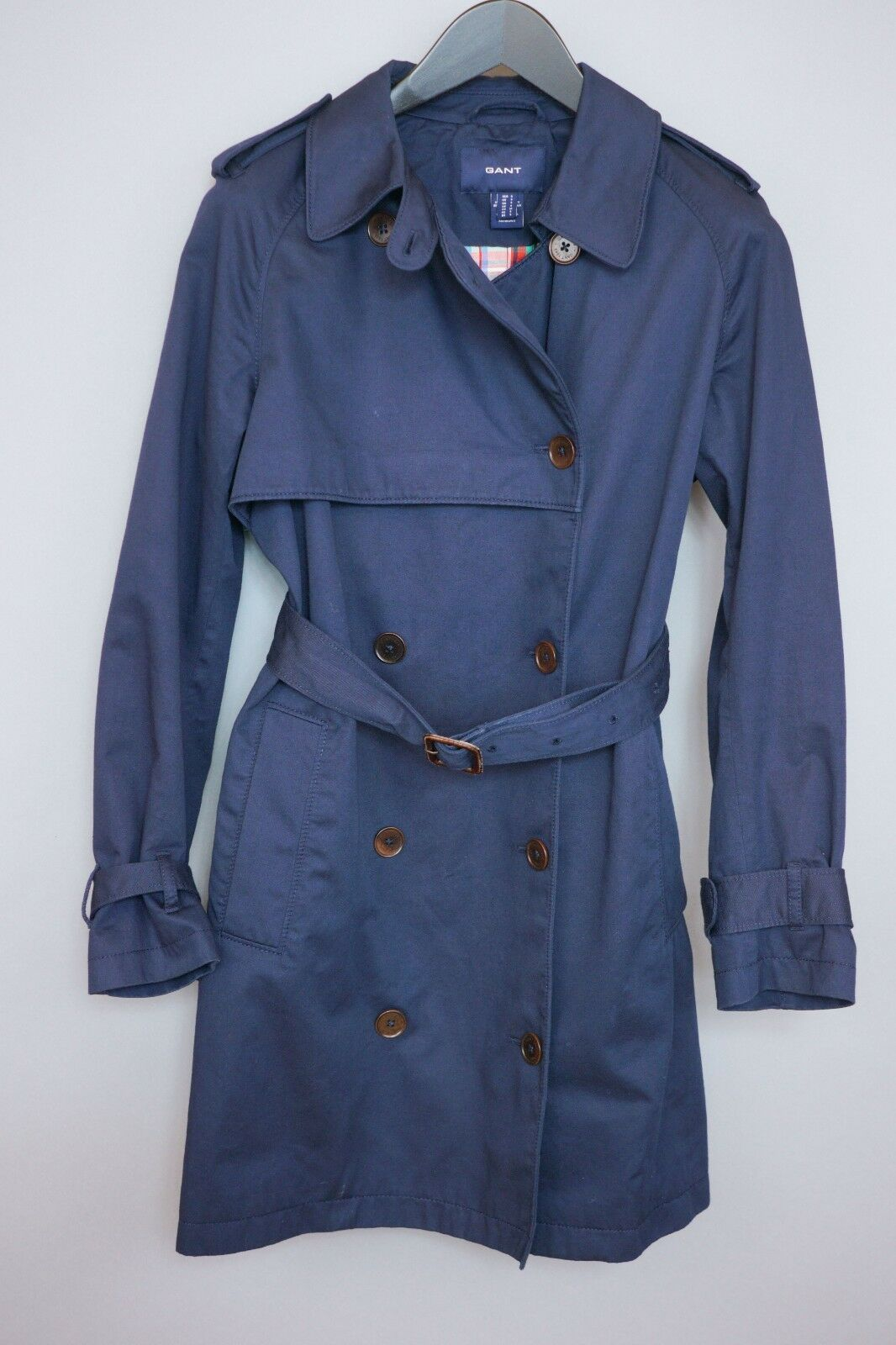 Women Gant Trench Coat Double Breasted bluee Cotton Business Formal S UK10 ZFA106