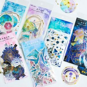 60 Sheets//Pack Diary Label Galaxy Stickers Paper Sticker Phone Decor