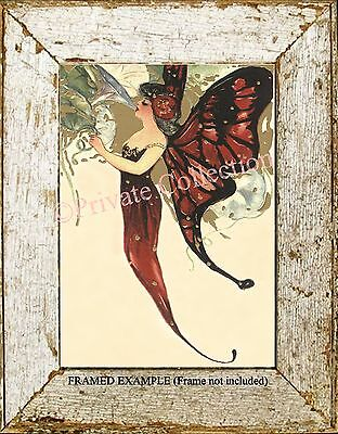 Art Nouveau Victorian RED BUTTERFLY FAIRY Evening Gown Morning Glory ART PRINT