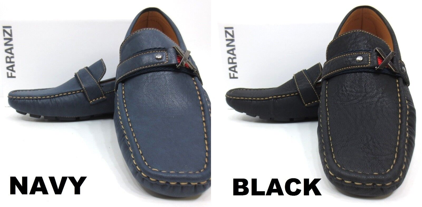 Men's FARANZI black / navy faux leather loafers slip on shoes style F4811