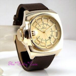 Retro-Square-Designer-Gold-Plt-amp-Brown-Leather-Chunky-S-Steel-Date-Display-Watch