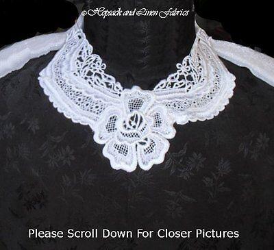 2pc Exquisite White Heavy Venise Lace Guipure Bridal Collar Dress APPLIQUE TRIM