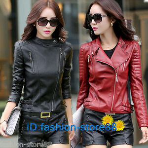 Womens-Slim-Fit-Biker-Motorcycle-Synthetic-Leather-Zip-Up-Jacket-Coats-Oversized