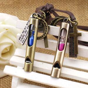 Mini-Hourglass-Leather-Necklace-Pendant-Whistle-Love-Women-Retro-Men-Jewelry