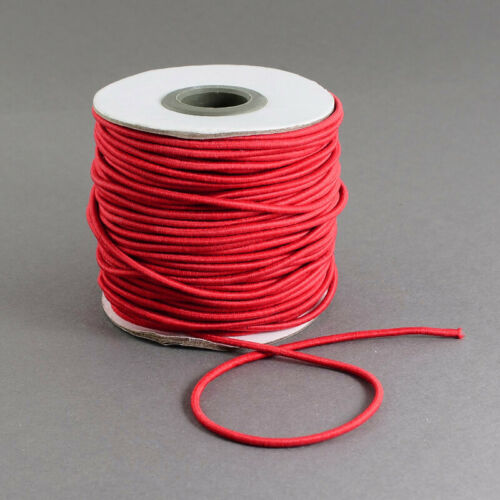 1 Roll Red 1.2-2mm Round Elastic Cord with Nylon Outside and Rubber For DIY