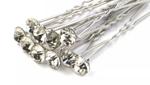 40 Pcs Clear Crystal  Diamante Wedding Bridal Prom Events Parties Hair Pins