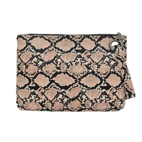 Snake Print Wristlet Clutch Women Daily Makeup Bags Purse Soft PU Leather Money