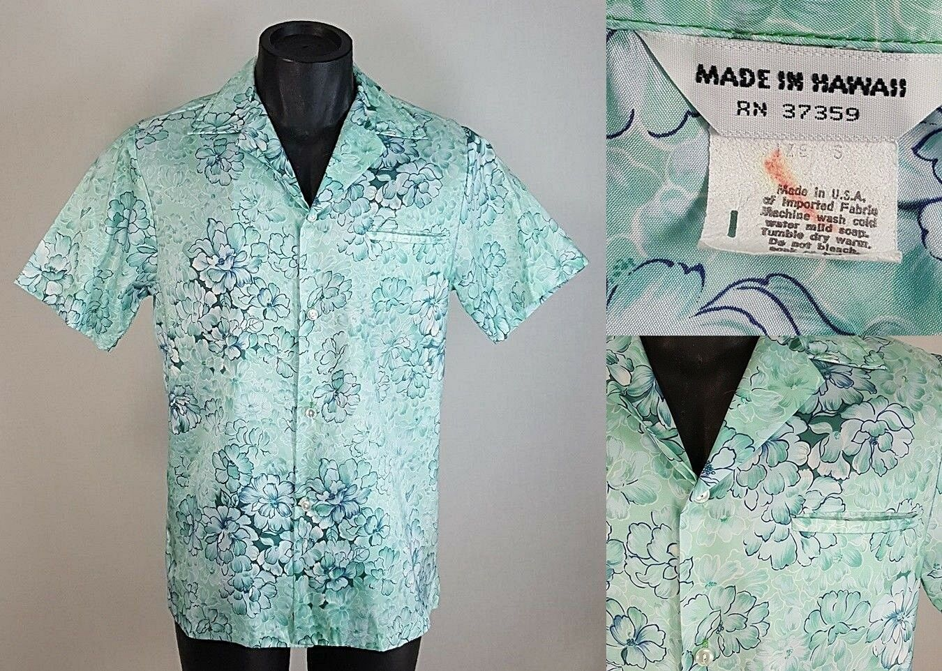 Vtg MADE IN HAWAII bluee Green Floral Hawaiian Aloha Shirt Men's SMALL Polyester