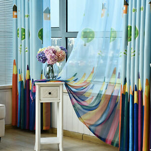 Pencil-Printed-Sheer-Curtain-Set-Tulle-Blackouts-Cloth-Shade-Drapery-Kids-1Panel