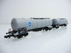 Minitrix-N-1-160-aus-Set-15225-2-teiliger-Kesselwagen-Zug-ARAL-grau-4-achsig