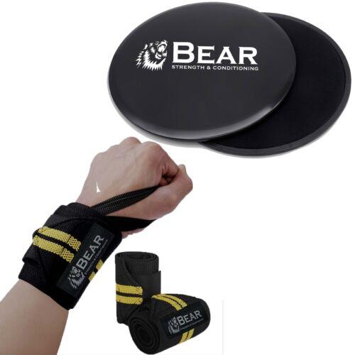 BEAR Strength Wrist Wraps /& Core Slider for Abdominal Ab