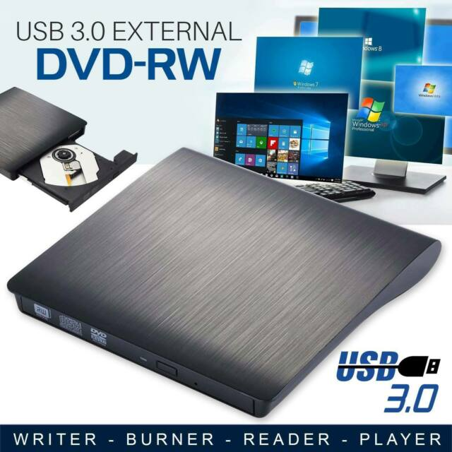 USB 3.0 External DVD-RW Drive Slim RW CD R Burner Copier Reader Rewriter
