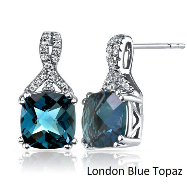 Dangle Drop Earrings Pear Blue Topaz Cubic Zirconia Silver Jewelry