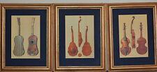 Antique stringed Instrumens x3 color Prints high quality framed Viola Da Gamba
