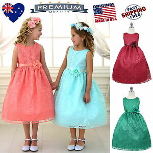 Lace-Flower-Girl-Dress-Girls-Party-Special-Occasion-Dress-Jr-Bridesmaid-Dress