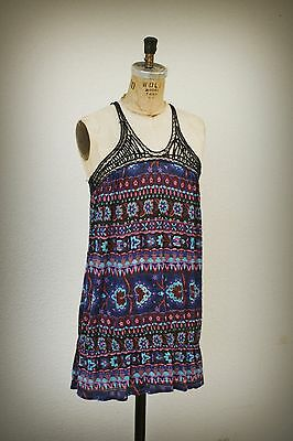 Free People P/S Baby Doll Tunic Mini Dress Spiderweb Racer Back Hippie Boho