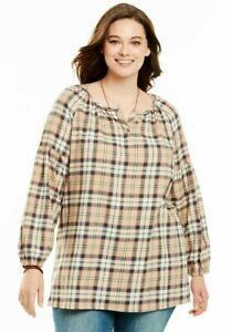 7fc0f2c7473 Womens Woman Within Plus Size Split Neck Tan Cotton Flannel Plaid ...