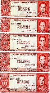 163a XF-aUNC 5 x 100 Pesos Bolivanos LOT Bolivia P-163 1962
