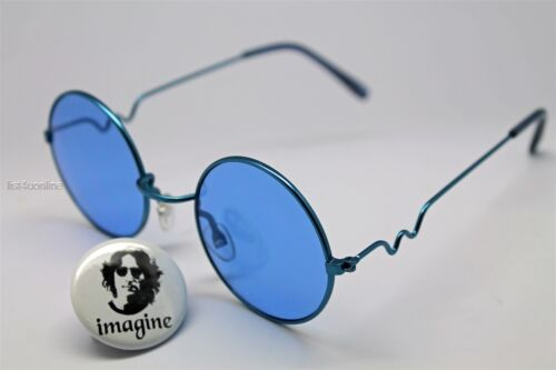 Imaginez Pin de John Lennon portant Lunettes De Soleil Verre Bleu Lentille Avec aléatoire Cadre
