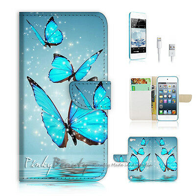 ( For iPod 5 / itouch 5 ) Flip Case Cover! Beautiful Butterfly Blue P0225