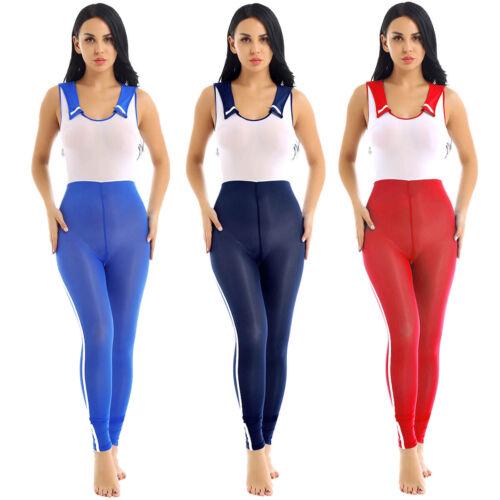 Women See Through Leotard zipper crotch bodysuit School Uniform Cosplay Jumpsuit
