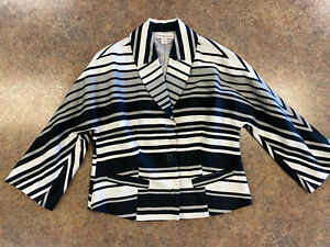 Coldwater Creek Women Black White Striped Business Button Snap Jacket Size 4 6