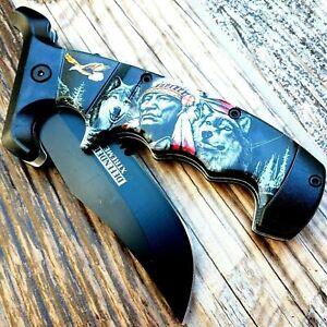 """9"""" SPRING ASSISTED TACTICAL FOLDING POCKET KNIFE 3Cr13 Steel Blade Wolves Spirit"""