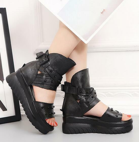 Punk Women Leather Rivet Sandals Platform Wedge Creeper shoes Gladiator Peep Toe