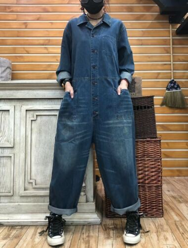 Women/'s Jeans Jumpsuit Denim Overall Loose Pants Long Sleeve Workwear Coverall