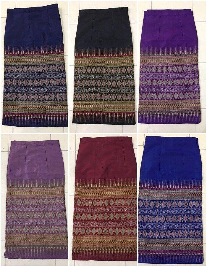 Short Skirt Laos Silk Multi color Dress Sarong Traditional Temple Wedding Women